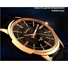 358 Men Fashion Leather Band Quartz Wrist Watch-Balck