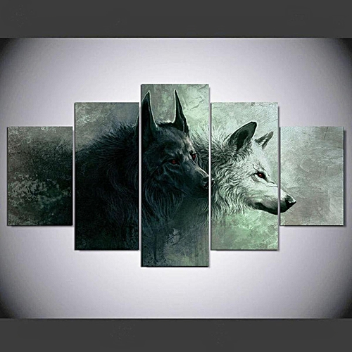 buy generic 5 panels red eye two wolves canvas print painting ...