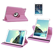 2 in 1 iPad Air 1 Cover Case Plus Screen Protector 360 Degree Rotating PU Leather Stand Smart Case Cover with Automatic Wake/Sleep Feature for iPad Air 1 (Pink) Mll-S