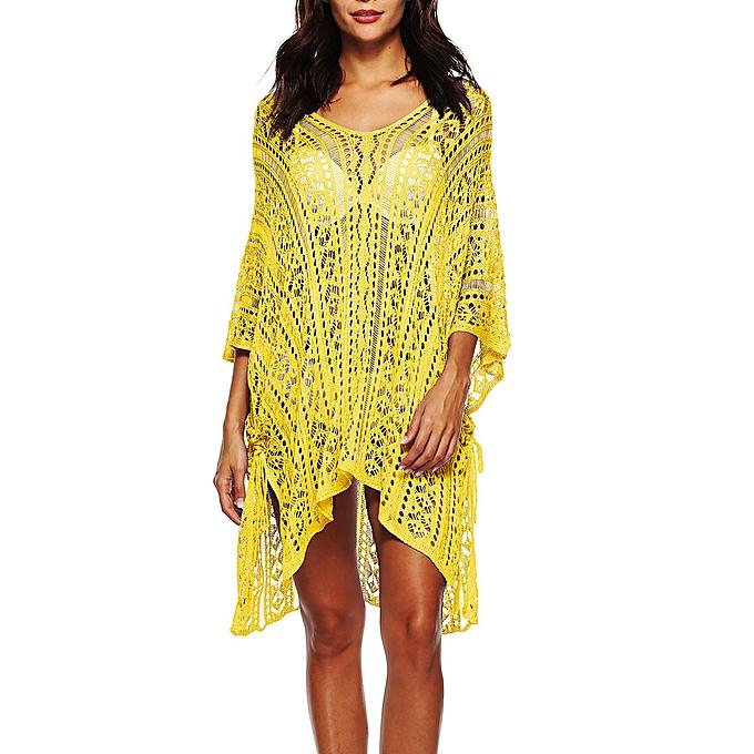 d50ecf76459 Hiaojbk Store Women Bathing Cover Up Bikini Swimsuit Swimwear Crochet Smock Beach  Cover Up-Yellow