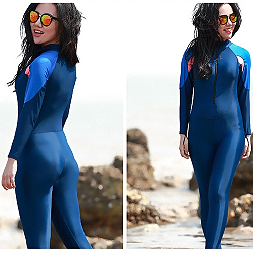 aba26a6c48b4e Generic Women One-piece Long Sleeve Snorkeling Wetsuit Sunscreen Full Body  Swimwear Diving Suit