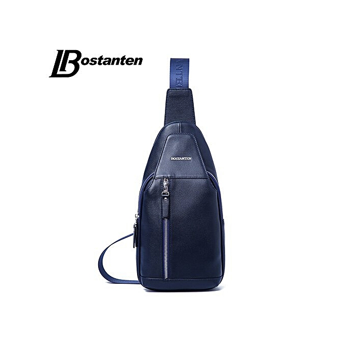 7990e8a08ef BOSTANTEN New brand Designer Fashion Cow Leather Bag Sling Chest Pack Men  Messenger Bags Vintage Shoulder Bags(blue men chest bag)