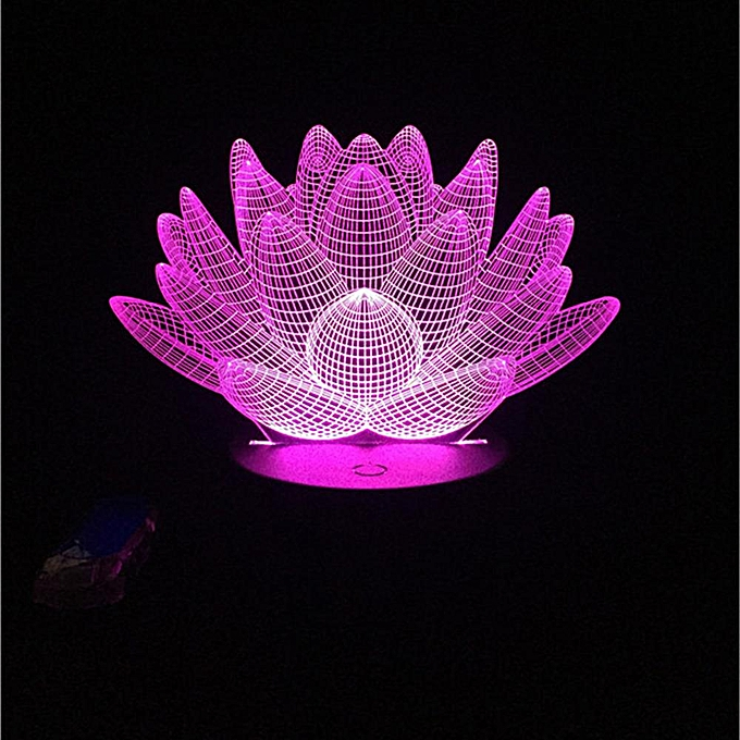 Generic Usb Led Lotus Flower Night Light 3d 7colors Christmas Gifts