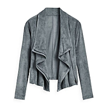 Faux Suede Zip Up Cropped Jacket - DEEP GRAY