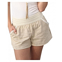 Casual Elastic Waistband Woman Pants - White