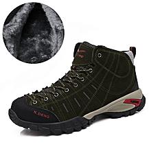 Winter Fleece Men Outdoor Hiking Mountain Shoes Leather Men Climbing Trekking Shoes Warm Up - Green