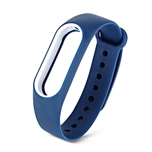 Double Color Replacement Silicone Wrist Strap for Miband 2 Blue