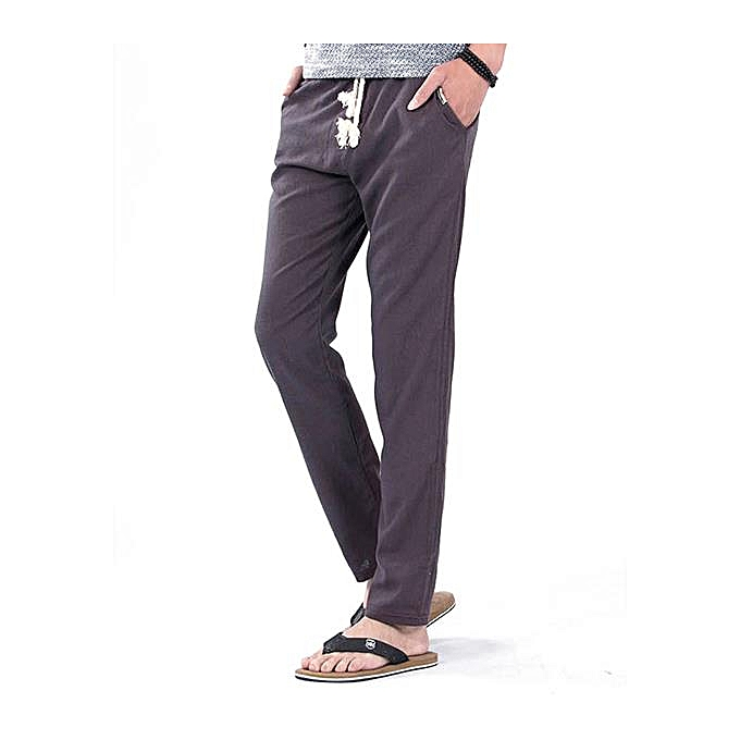 eb513d47674 Summer Breathable Linen Cotton Pants Mens Loose Straight Solid Color Casual  Trousers