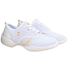 UJ Female Dance Sneakers Soft Mesh Shoes Woman Jazz Ballroom Practicing-white&gold-41