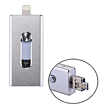 RQW-02 3 in 1 USB 2.0 & 8 Pin & Micro USB 32GB Flash Drive, for iPhone & iPad & iPod & Most Android Smartphones & PC Computer(Silver)