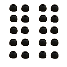 10 Pairs Medium Size Clear Silicone Replacement Ear Buds Tips For Sony Phillips-Black