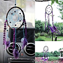 Handmade Dream Catcher With Purple Feather Wall Hanging Car Decor Oranment Craft