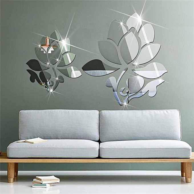 Family shop lotus 3d mirror wall stickers for wall - Wall sticker ideas for living room ...