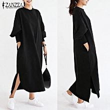 ZANZEA Women Striped Dress Long Batwing Sleeve O-Neck Casual Loose Split Maxi Long Dress Vestidos (Black)