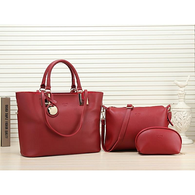 67f45ac083b0 Generic 3 in 1 Posh Synthetic Leather Hand Bag-maroon   Best Price ...