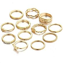 12PCS Vintage Women's Boho Crystal Flower Knuckle Ring Tibetan Turkish-Gold