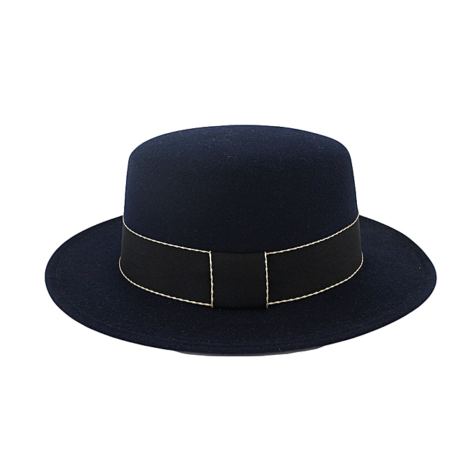 cee00e0e2bef3 Unisex Wide Brim Wool Felt Flat Top Fedora Hat Party Church Trilby Hats Cap  yumisok