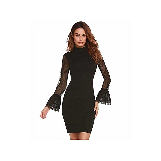 a5c3cb5de38 Women Slim Mesh Long Sleeve Highneck Patchwork Bodycon Tube Cocktail Party  Evening Short Dress Plus S