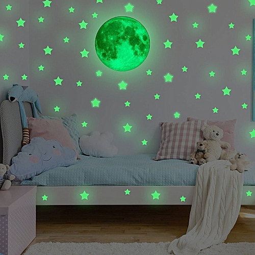 Muyi Glow In Dark Wall Ceiling Stars Moon Stickers Wall Stickers