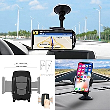 Universal Adjustable 360° Car Phone Holder; Washable Strong Sticky Gel Pad with One-Touch Design Dashboard Car Phone Mount for iPhone 7/7Plus/6s/6Plus/5S; Galaxy S5/S6/S7/S8; Google Nexus; LG; Huawei; Tecno and More