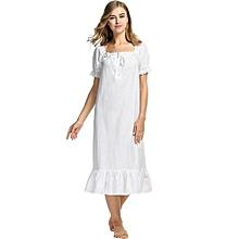 400339555 Avidlove Women Cotton Short Sleeve Short/Long Lingerie Dress Nightgown  Shift Pure Color Sleepwear Nightwear