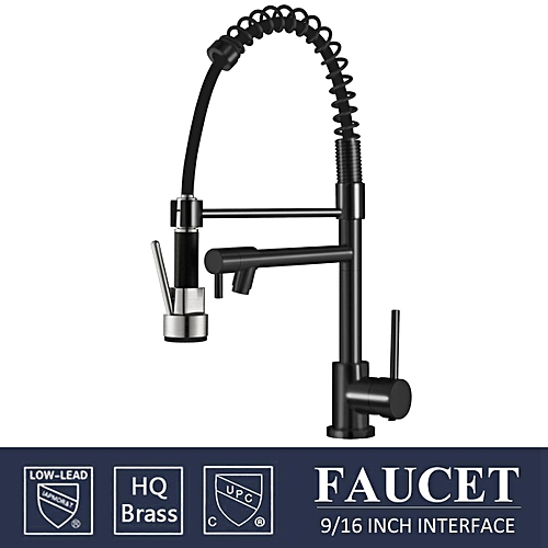 Buy Generic Holmark Chrome Black Brass Kitchen Faucet Pull Down