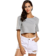 Women Short Sleeve Solid Loose Crop Tops Casual Sports T-shirt ( Grey )