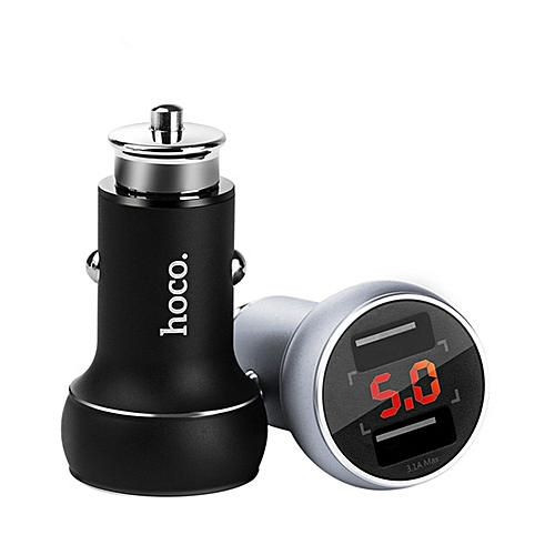 HOCO 3.1A Dual USB Ports Digital Display Fast Car Charger For Mobile Phone Camera Tablet Laptop