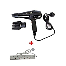Super GEK 3000 Hairdryer - 1700W - Black With 5-Way Socket Extension Cable - White