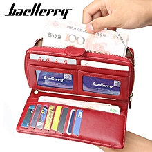 Baellerry Women Faux Leather Large Capacity Fashion Purse Wallet Pure Color Clutch Bag Card Holder