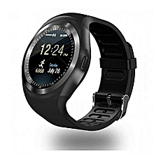 Y1 Touch Screen Smart Watch Phone with SIM Slot - Black