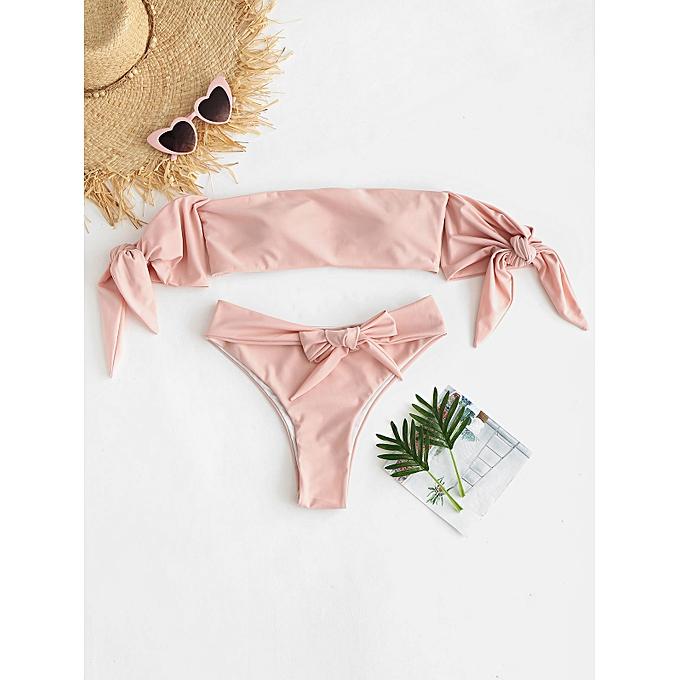 c0ece4fa6e ZAFUL Tie Off The Shoulder High Cut Bikini Set,Deep Peach @ Best ...