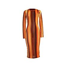 Orange knit midi dress