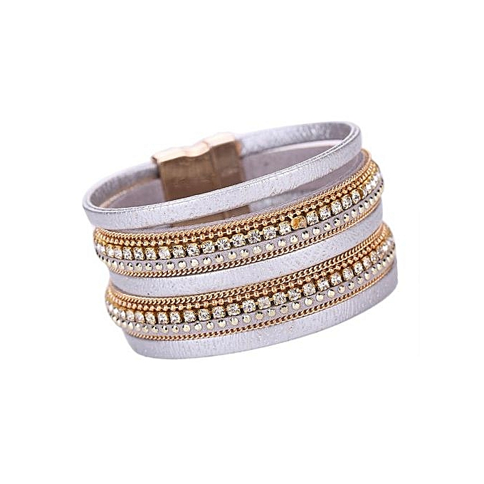 eb331f067e9 Women Bohemian Bracelet Woven Braided Handmade Wrap Cuff Magnetic Clasp  Silver-Silver