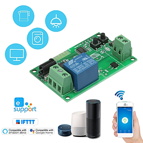 SONOFF 5V / 12V / 220V Wifi Switch Wireless Relay Module RF 433MHz Remote  Switch for Android/IOS APP Control Compatible with Amazon Alexa Voice