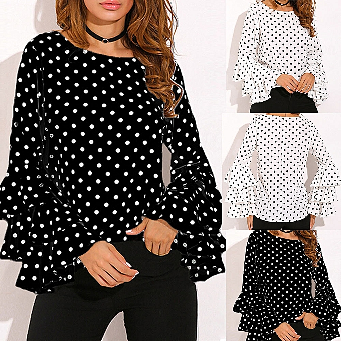 4f003815812200 Fashion Women s Bell Sleeve Loose Polka Dot Shirt Ladies Casual Blouse Tops