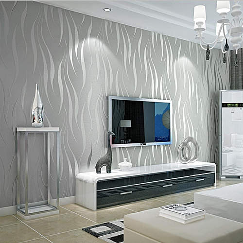 53cm X 10m Silver 3d Non Woven Wave Stripe Embossed Wallpaper Rolls Living Room Decor