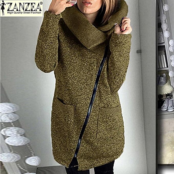 de28ec8b21d ZANZEA Women Long Hoodies Sweatshirts Loose Casual Long Sleeve Zipper Solid  Hooded Outwear Tops Female Fleece