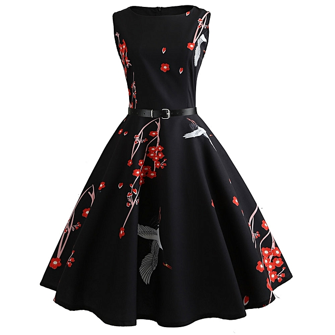0c1343b5c8683 Women Vintage Printing Bodycon Sleeveless Casual Evening Party Prom Swing  Dress - Black - XXL