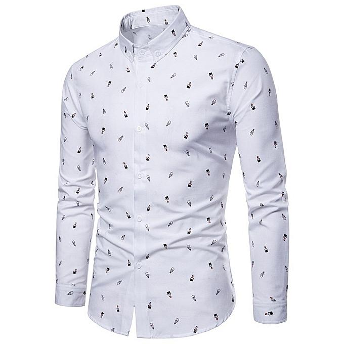 5afafcfa New Stylish Men Cartoon Printed Leisure Long Sleeve Shirt Tops