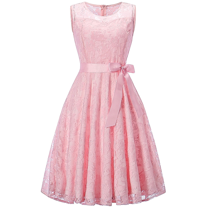 Buy Fashion Sleeveless Lace Swing Party Dress - PINK @ Best Price ...