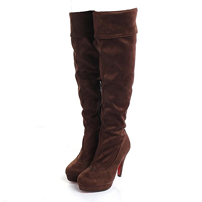 60384d898ef Fashion Womens Stilettos Thigh High Slouch Over The Knee Shoes Leg Suede  Boots Cosplay brown