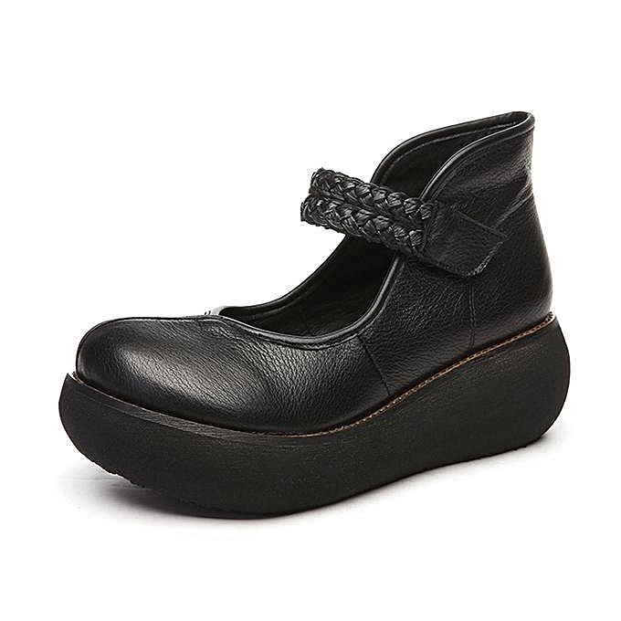 2b3413f860b ... SOCOFY Retro Round Toe Hook Loop Platform Soft Leather Fashion Women  Shoes-EU