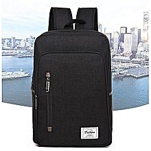 Backpack Laptop Bag Pack Travel Vintage Teenage College Double Shoulder School Pure-black