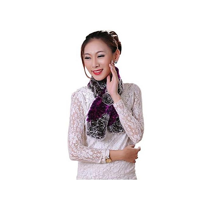 37a5134eb10 Hiaojbk Store Women Winter Scarf Lady Casual Fur Scarves Fur Ball Velvet  Scarf Purple-Purple