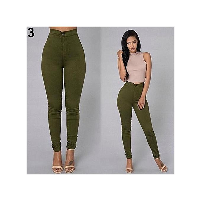0f67e0a489112 Women Pencil Stretch Casual Denim Skinny Jeans Pants High Waist Trousers -Green