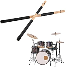 1 Pair Wooden Rods Rute Jazz Drum Sticks Drumsticks 40cm With Rubber Handle