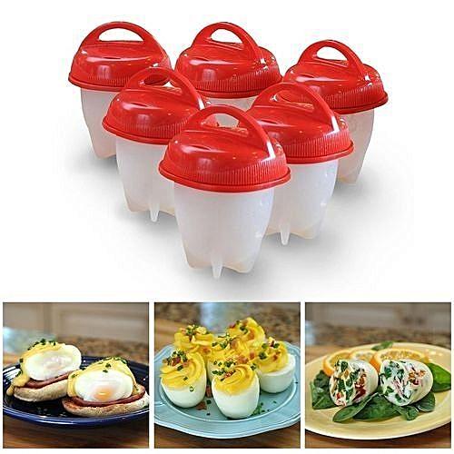 6d89e65e0d91 Generic Silicone Egg Boil Cup Cooker Poacher Steamer Hard Boiled Egg Molds  6pcs set - Red   White