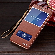 """For Huawei Honor V8 5.7"""" inch Double View Window Flip Leather Cover Case Luxury Pu Leather Case Gift lanyard(Brown)"""