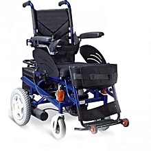 Electric wheelchair with vertical positioning and signaling lights